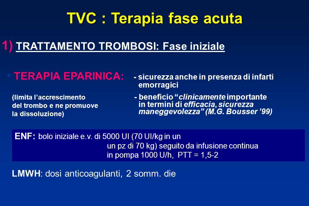 TVC : Terapia fase acuta 1) TRATTAMENTO TROMBOSI: Fase iniziale TERAPIA EPARINICA: - sicurezza anche in presenza di infarti emorragici - beneficio clinicamente importante in termini di efficacia, sicurezza maneggevolezza (M.G.