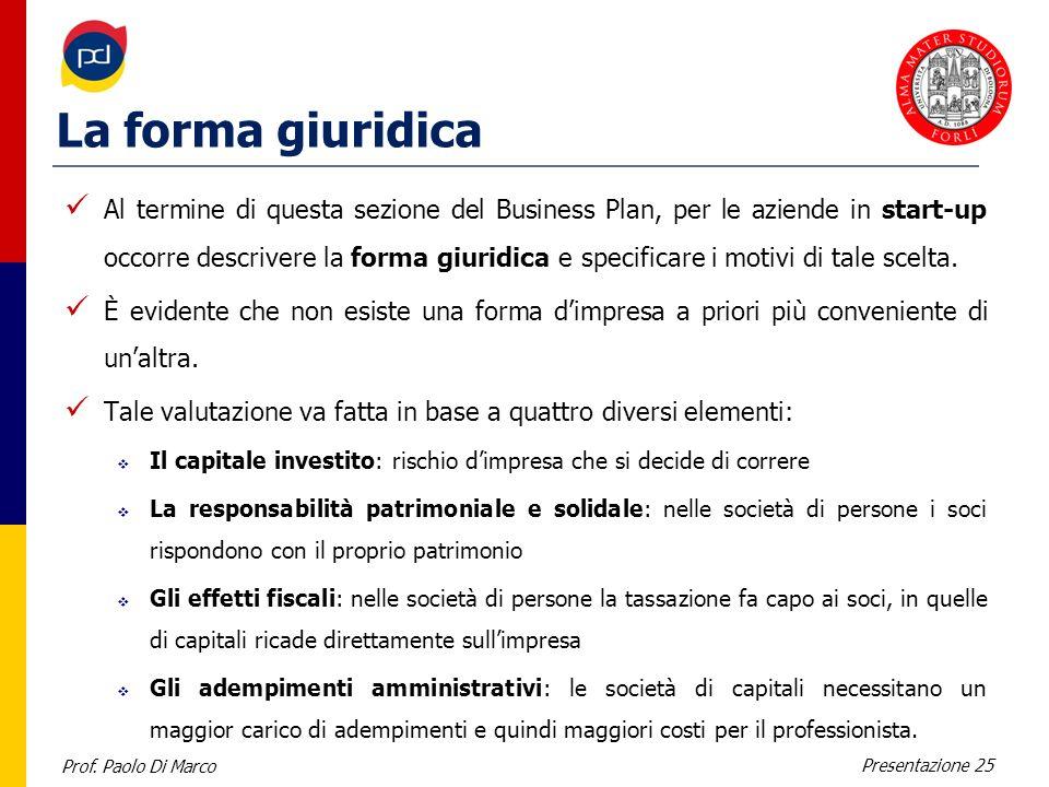 Prof. Paolo Di Marco Presentazione 25 La forma giuridica Al termine di questa sezione del Business Plan, per le aziende in start-up occorre descrivere