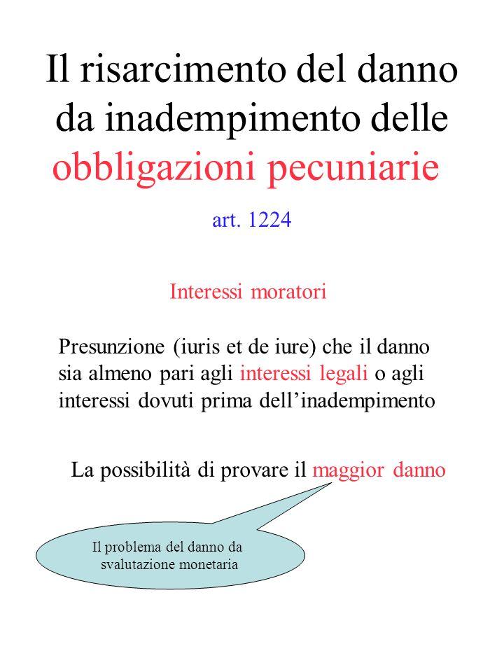 Il risarcimento del danno da inadempimento delle obbligazioni pecuniarie Obbligazioni che hanno per oggetto una determinata quantità di denaro (art. 1