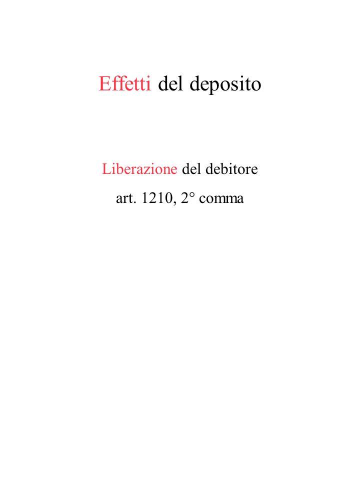 Il deposito Presupposti (art. 1210 e 1212) Rifiuto dellofferta formale La possibilità di un deposito sulla base di una offerta non formale: produzione
