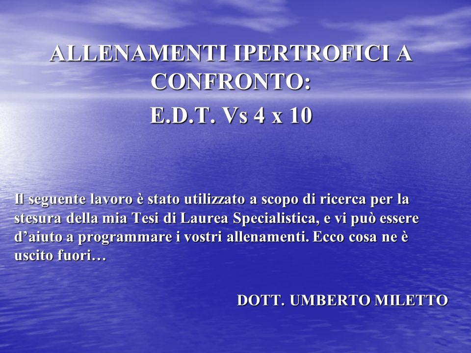 ALLENAMENTI IPERTROFICI A CONFRONTO: E.D.T. Vs 4 x 10 Il seguente lavoro è stato utilizzato a scopo di ricerca per la stesura della mia Tesi di Laurea