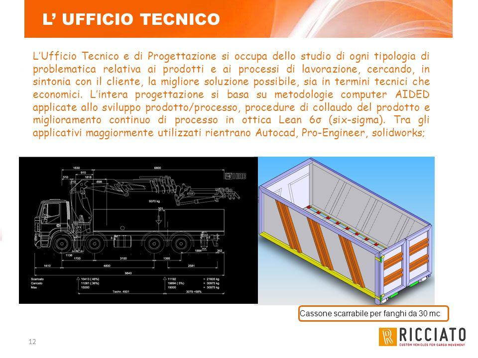 12 L UFFICIO TECNICO LUfficio Tecnico e di Progettazione si occupa dello studio di ogni tipologia di problematica relativa ai prodotti e ai processi d