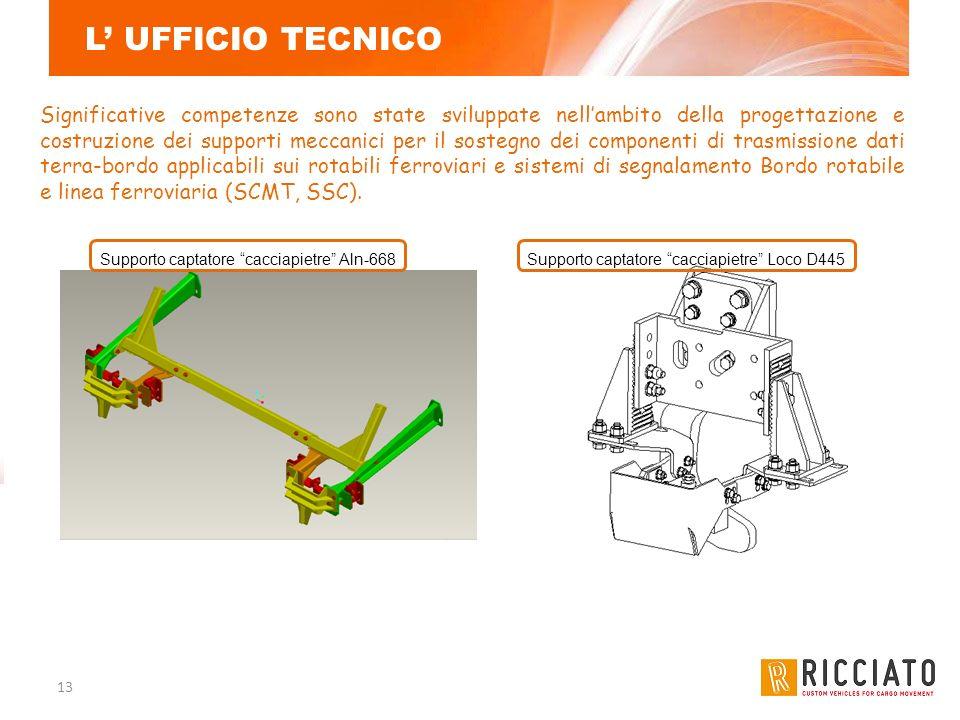 13 L UFFICIO TECNICO Significative competenze sono state sviluppate nellambito della progettazione e costruzione dei supporti meccanici per il sostegn