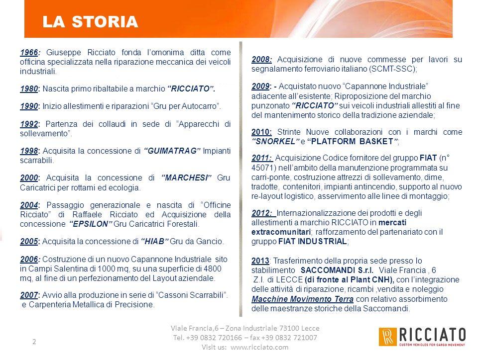 Viale Francia,6 – Zona Industriale 73100 Lecce Tel. +39 0832 720166 – fax +39 0832 721007 Visit us: www.ricciato.com 2 LA STORIA 1966: Giuseppe Riccia