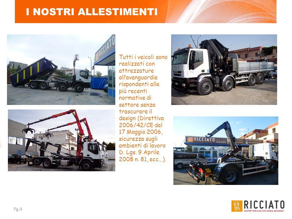 Pg.4 I NOSTRI ALLESTIMENTI Tutti i veicoli sono realizzati con attrezzature allavanguardia rispondenti alle più recenti normative di settore senza tra