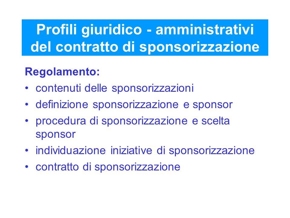 Profili giuridico - amministrativi del contratto di sponsorizzazione Regolamento: contenuti delle sponsorizzazioni definizione sponsorizzazione e spon