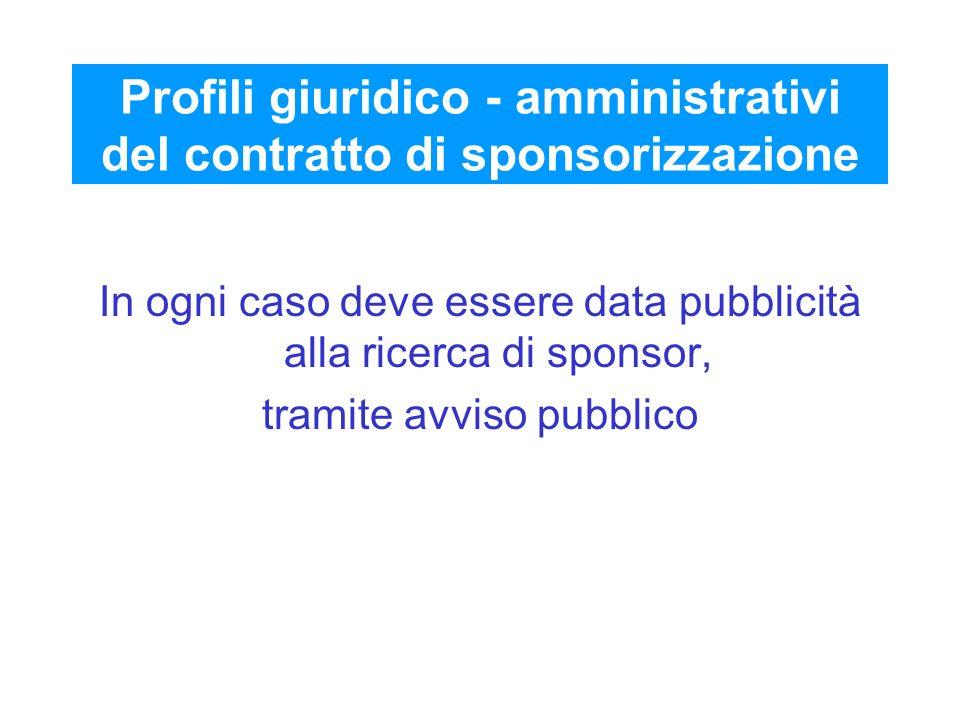 Profili giuridico - amministrativi del contratto di sponsorizzazione In ogni caso deve essere data pubblicità alla ricerca di sponsor, tramite avviso