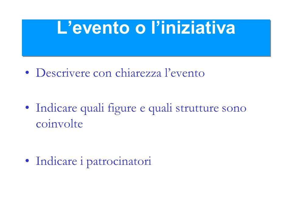 Levento o liniziativa Descrivere con chiarezza levento Indicare quali figure e quali strutture sono coinvolte Indicare i patrocinatori