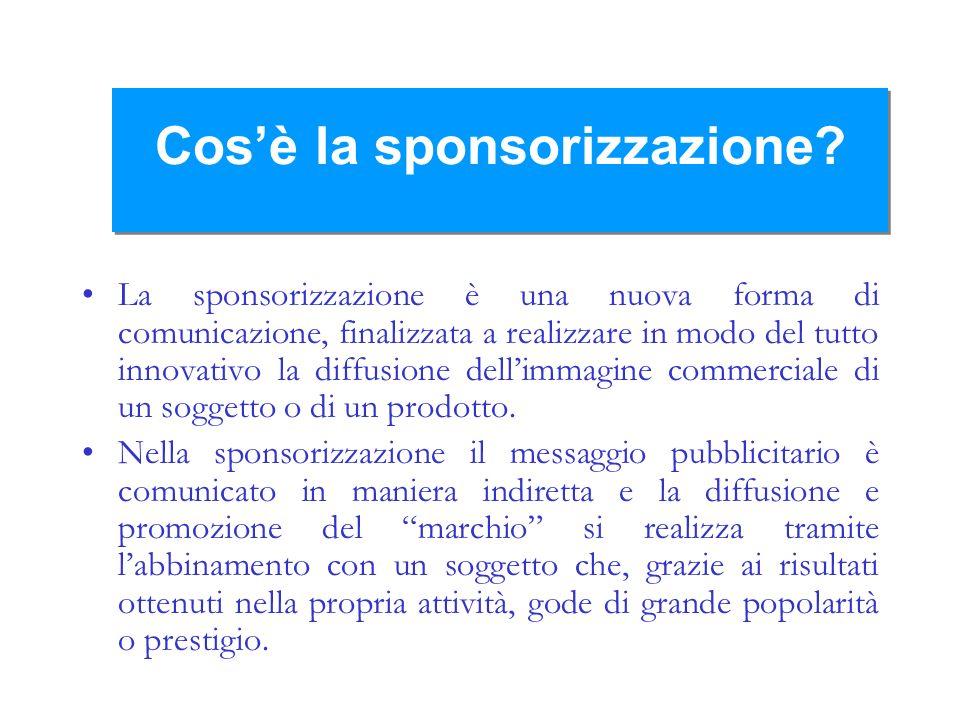 Cosè la sponsorizzazione? La sponsorizzazione è una nuova forma di comunicazione, finalizzata a realizzare in modo del tutto innovativo la diffusione