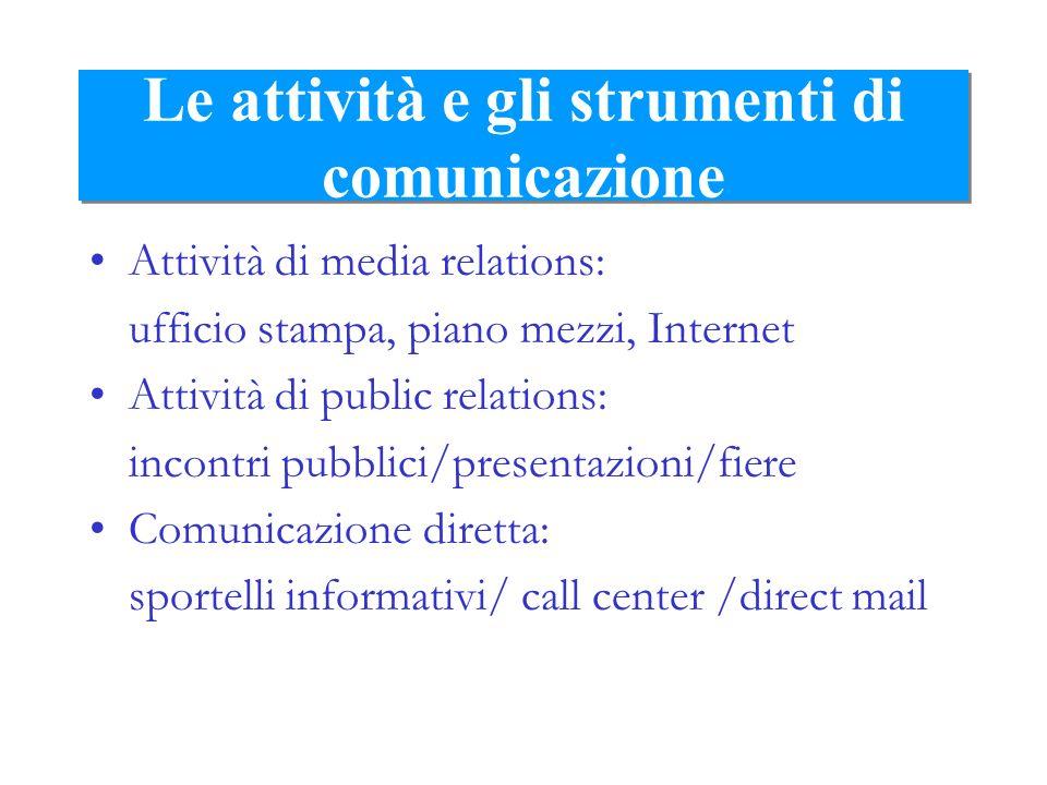 Le attività e gli strumenti di comunicazione Attività di media relations: ufficio stampa, piano mezzi, Internet Attività di public relations: incontri