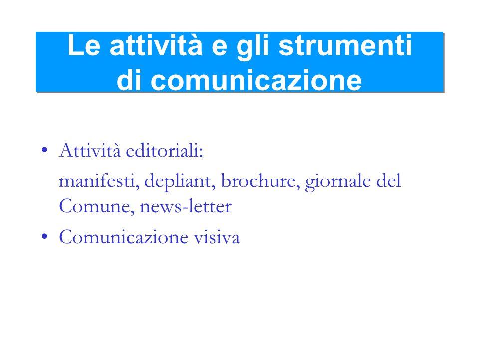 Le attività e gli strumenti di comunicazione Attività editoriali: manifesti, depliant, brochure, giornale del Comune, news-letter Comunicazione visiva
