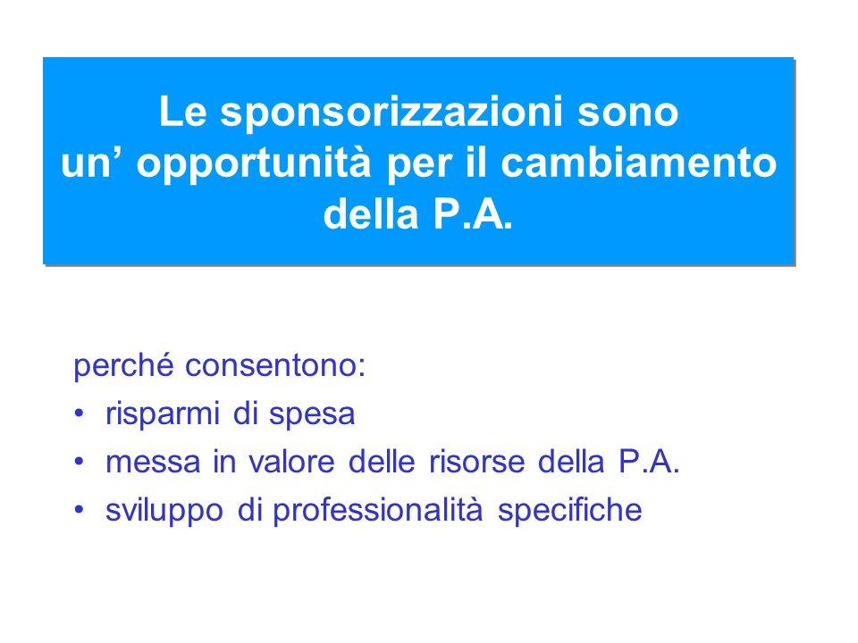 Le sponsorizzazioni sono un opportunità per il cambiamento della P.A. perché consentono: risparmi di spesa messa in valore delle risorse della P.A. sv