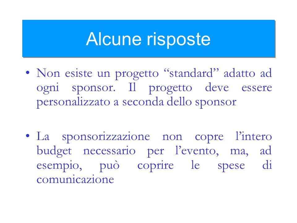 Alcune risposte Non esiste un progetto standard adatto ad ogni sponsor. Il progetto deve essere personalizzato a seconda dello sponsor La sponsorizzaz