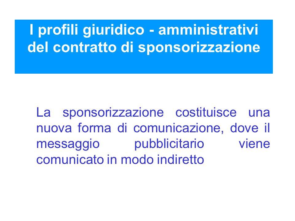 I profili giuridico - amministrativi del contratto di sponsorizzazione La sponsorizzazione costituisce una nuova forma di comunicazione, dove il messa