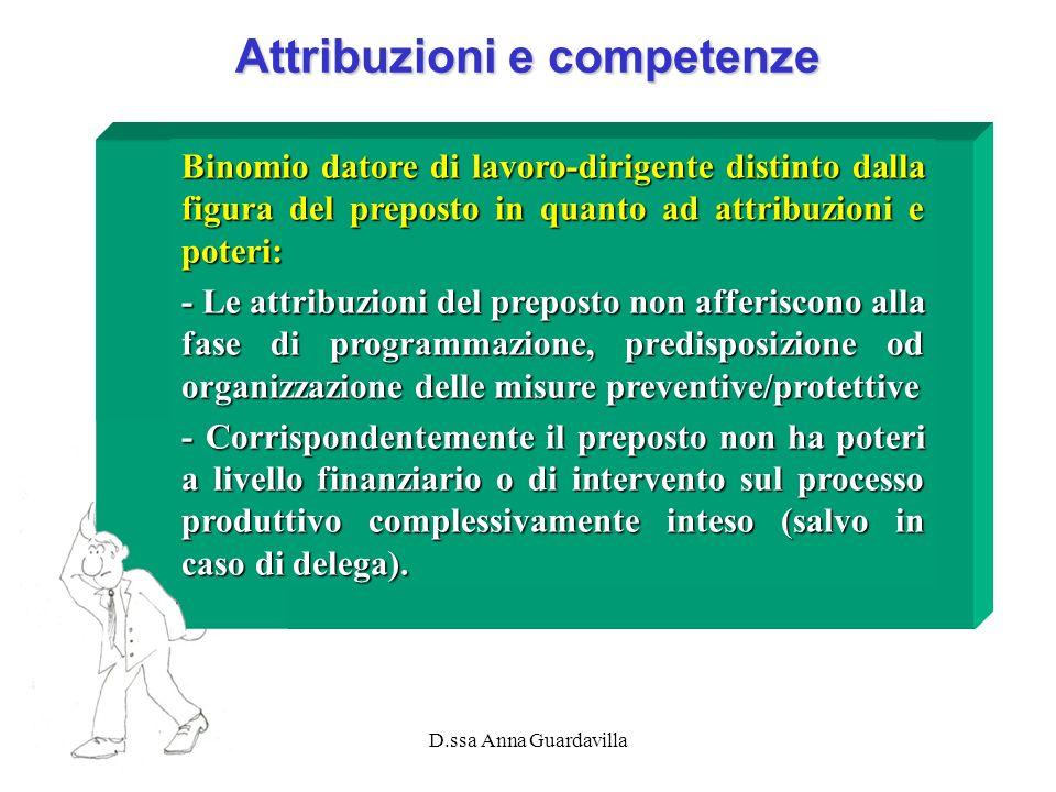 D.ssa Anna Guardavilla Attribuzioni e competenze Binomio datore di lavoro-dirigente distinto dalla figura del preposto in quanto ad attribuzioni e pot