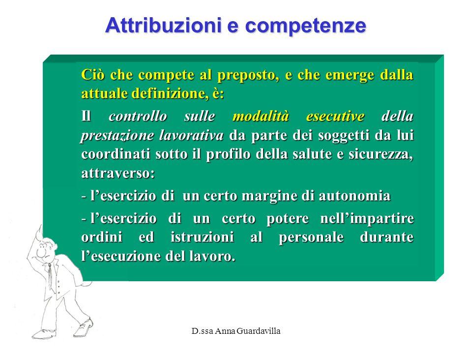 D.ssa Anna Guardavilla Attribuzioni e competenze Ciò che compete al preposto, e che emerge dalla attuale definizione, è: Il controllo sulle modalità e