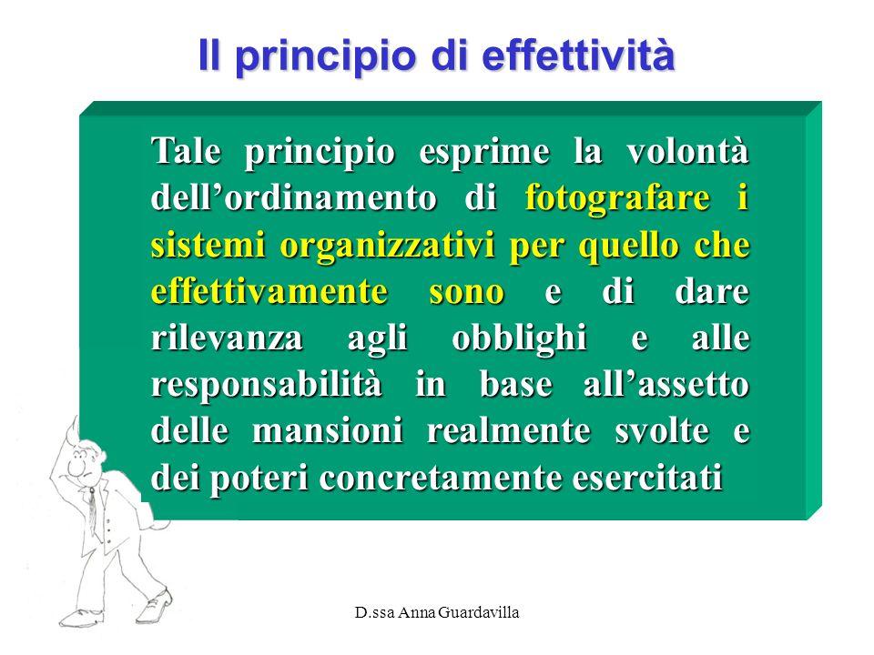 D.ssa Anna Guardavilla Il principio di effettività Tale principio esprime la volontà dellordinamento di fotografare i sistemi organizzativi per quello
