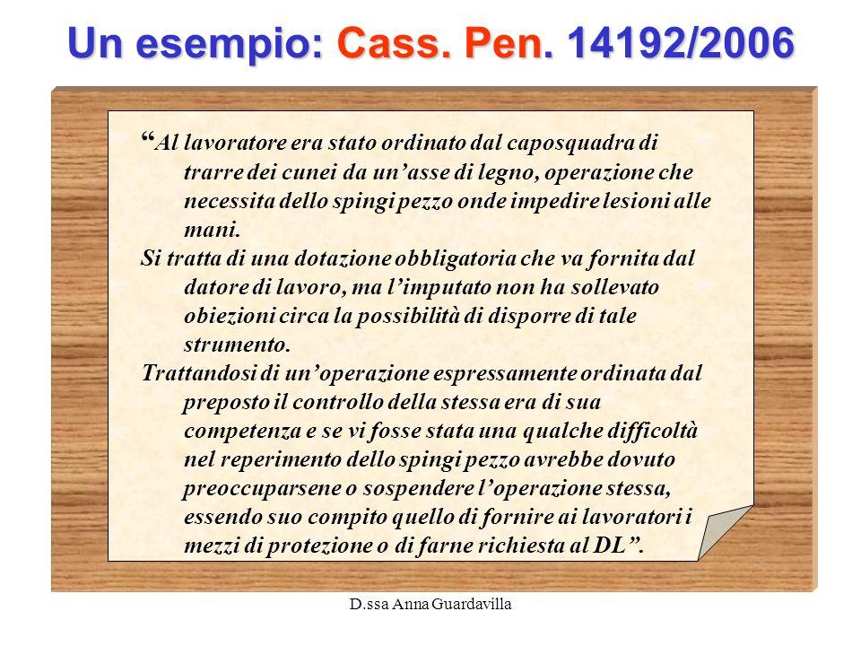 D.ssa Anna Guardavilla Un esempio: Cass. Pen. 14192/2006 Al lavoratore era stato ordinato dal caposquadra di trarre dei cunei da unasse di legno, oper