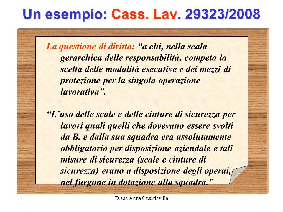 D.ssa Anna Guardavilla Un esempio: Cass. Lav. 29323/2008 La questione di diritto: a chi, nella scala gerarchica delle responsabilità, competa la scelt