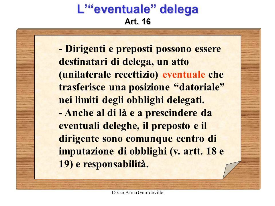 D.ssa Anna Guardavilla Leventuale delega Art. 16 - Dirigenti e preposti possono essere destinatari di delega, un atto (unilaterale recettizio) eventua