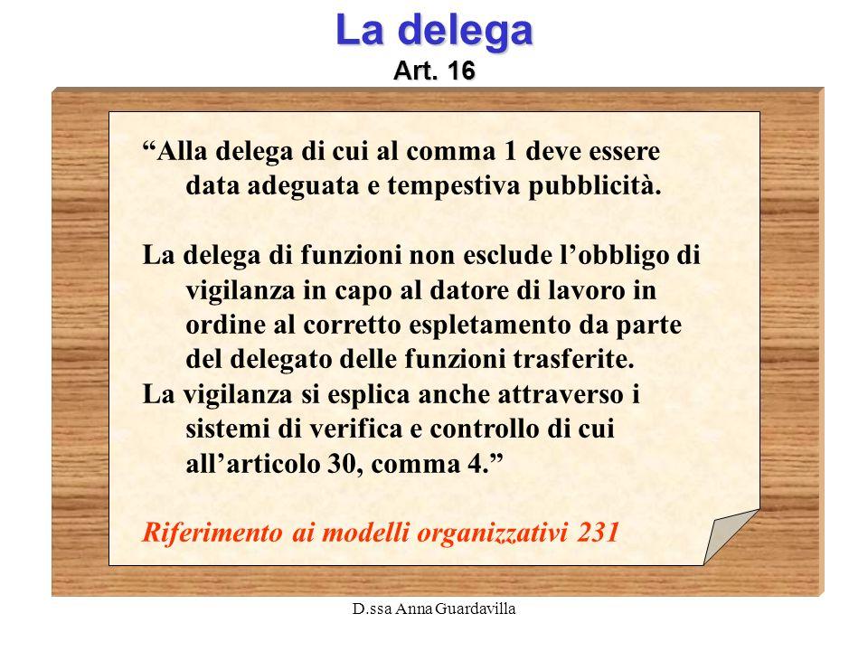 D.ssa Anna Guardavilla La delega Art. 16 Alla delega di cui al comma 1 deve essere data adeguata e tempestiva pubblicità. La delega di funzioni non es