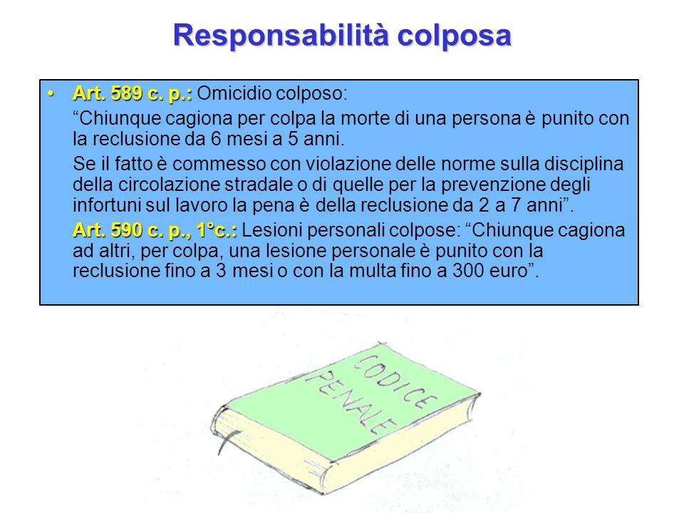 Responsabilità colposa Art. 589 c. p.:Art. 589 c. p.: Omicidio colposo: Chiunque cagiona per colpa la morte di una persona è punito con la reclusione