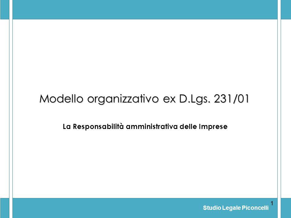 Studio Legale Piconcelli 11 Modello organizzativo ex D.Lgs. 231/01 La Responsabilità amministrativa delle Imprese