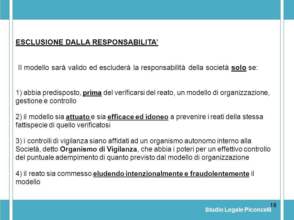Studio Legale Piconcelli 18 4) il reato sia commesso eludendo intenzionalmente e fraudolentemente il modello ESCLUSIONE DALLA RESPONSABILITA Il modell