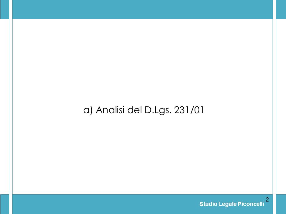 Studio Legale Piconcelli 22 a) Analisi del D.Lgs. 231/01