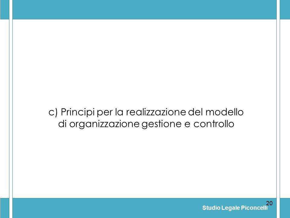 Studio Legale Piconcelli 20 c) Principi per la realizzazione del modello di organizzazione gestione e controllo