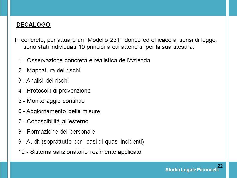 Studio Legale Piconcelli 22 In concreto, per attuare un Modello 231 idoneo ed efficace ai sensi di legge, sono stati individuati 10 principi a cui att