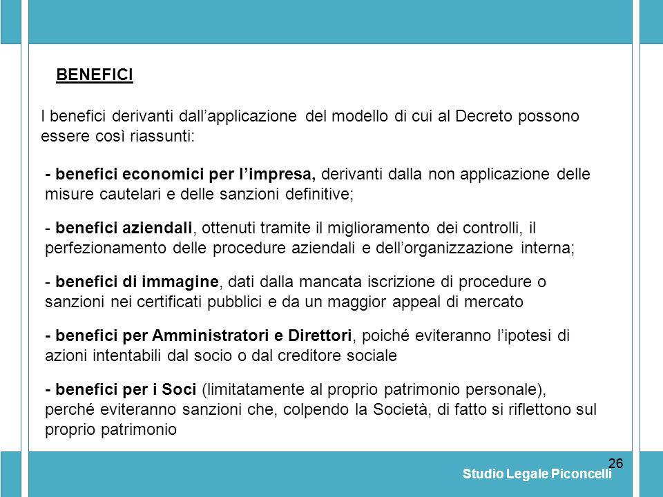 Studio Legale Piconcelli 26 - benefici per i Soci (limitatamente al proprio patrimonio personale), perché eviteranno sanzioni che, colpendo la Società