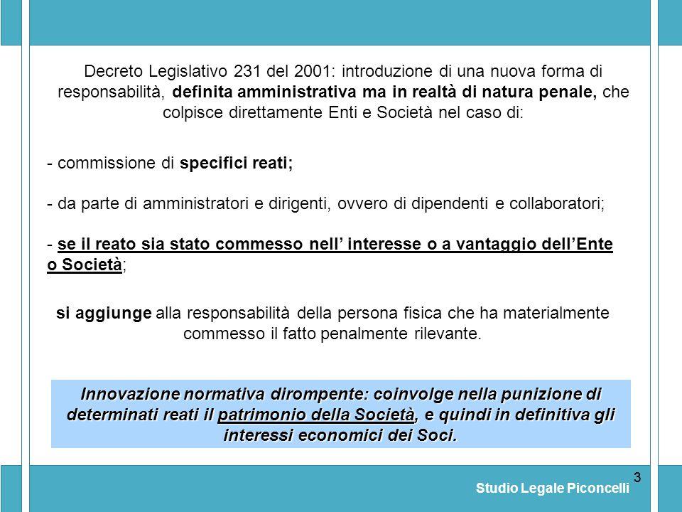 Studio Legale Piconcelli 33 Decreto Legislativo 231 del 2001: introduzione di una nuova forma di responsabilità, definita amministrativa ma in realtà