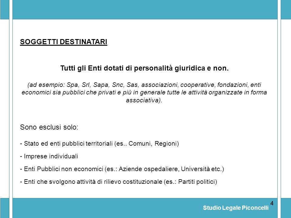 Studio Legale Piconcelli 44 (ad esempio: Spa, Srl, Sapa, Snc, Sas, associazioni, cooperative, fondazioni, enti economici sia pubblici che privati e pi