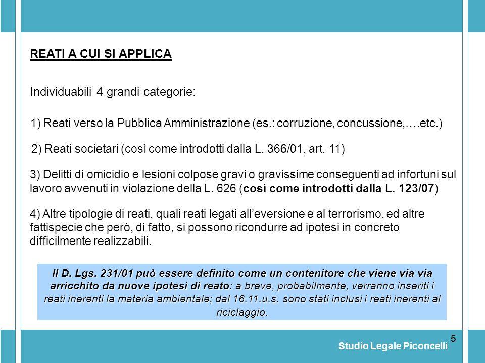 Studio Legale Piconcelli 55 Il D. Lgs. 231/01 può essere definito come un contenitore che viene via via arricchito da nuove ipotesi di reato: a breve,
