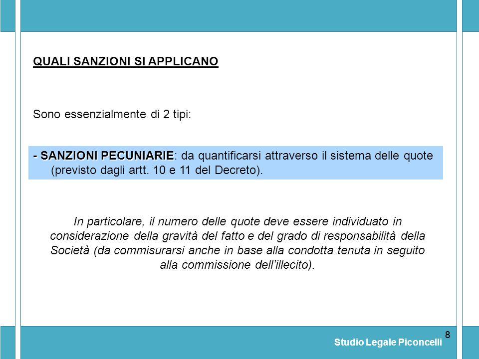 Studio Legale Piconcelli 88 - SANZIONI PECUNIARIE - SANZIONI PECUNIARIE: da quantificarsi attraverso il sistema delle quote (previsto dagli artt. 10 e