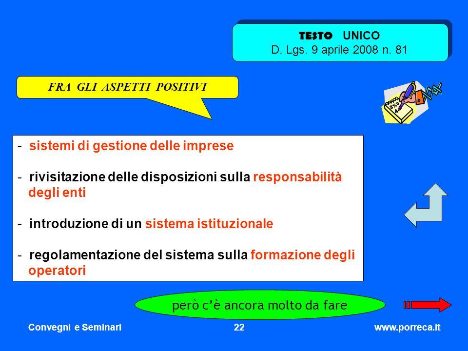 Convegni e Seminari22www.porreca.it - sistemi di gestione delle imprese - rivisitazione delle disposizioni sulla responsabilità degli enti - introduzi