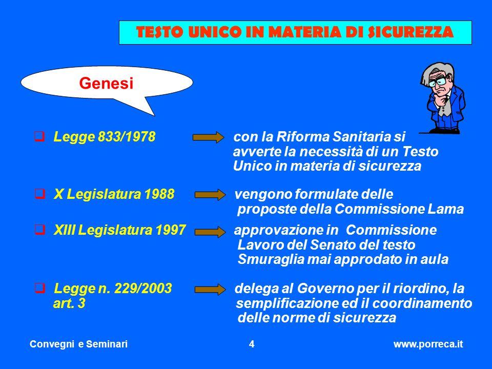 Convegni e Seminari4www.porreca.it TESTO UNICO IN MATERIA DI SICUREZZA Legge 833/1978 con la Riforma Sanitaria si avverte la necessità di un Testo Uni
