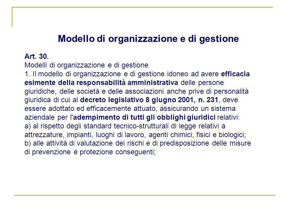 Modello di organizzazione e di gestione Art. 30. Modelli di organizzazione e di gestione 1. Il modello di organizzazione e di gestione idoneo ad avere
