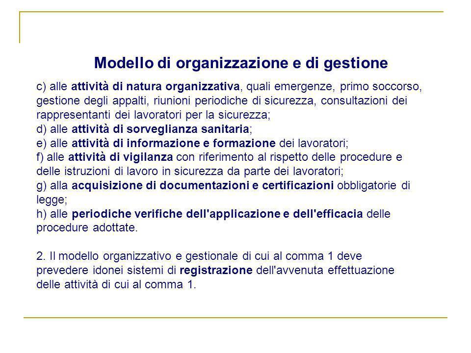 Modello di organizzazione e di gestione c) alle attività di natura organizzativa, quali emergenze, primo soccorso, gestione degli appalti, riunioni pe