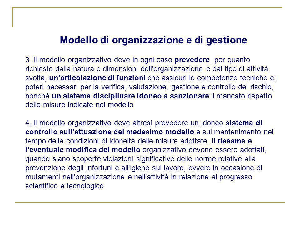 3. Il modello organizzativo deve in ogni caso prevedere, per quanto richiesto dalla natura e dimensioni dell'organizzazione e dal tipo di attività svo