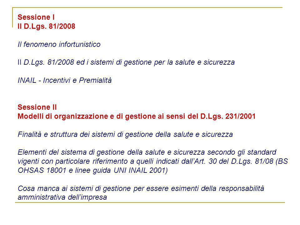 Sessione I Il D.Lgs.81/2008 Il fenomeno infortunistico Il D.Lgs.