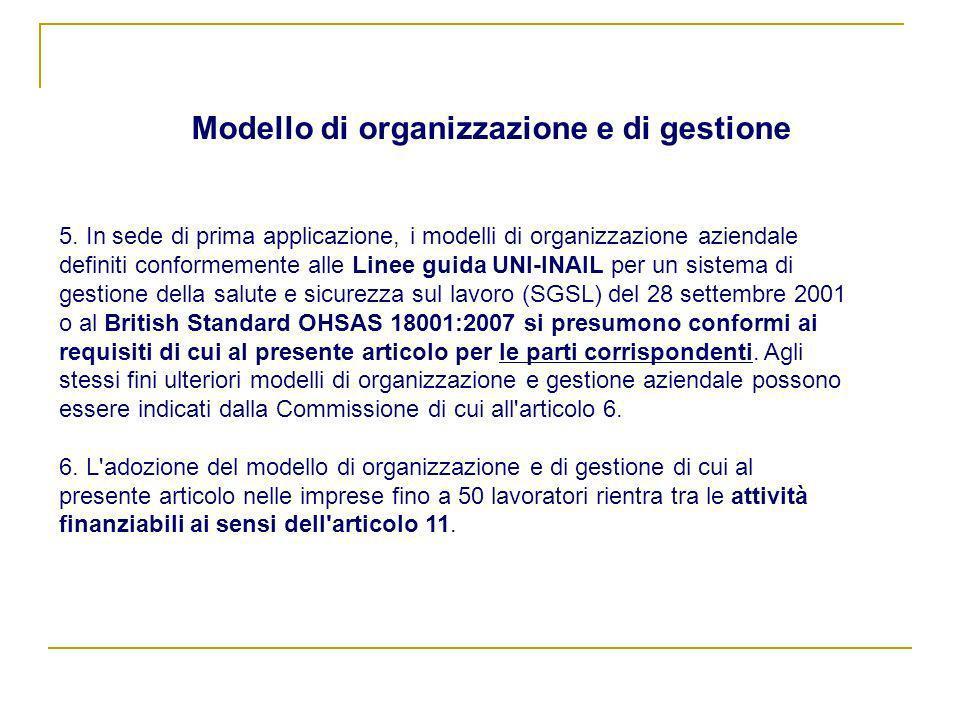 5. In sede di prima applicazione, i modelli di organizzazione aziendale definiti conformemente alle Linee guida UNI-INAIL per un sistema di gestione d