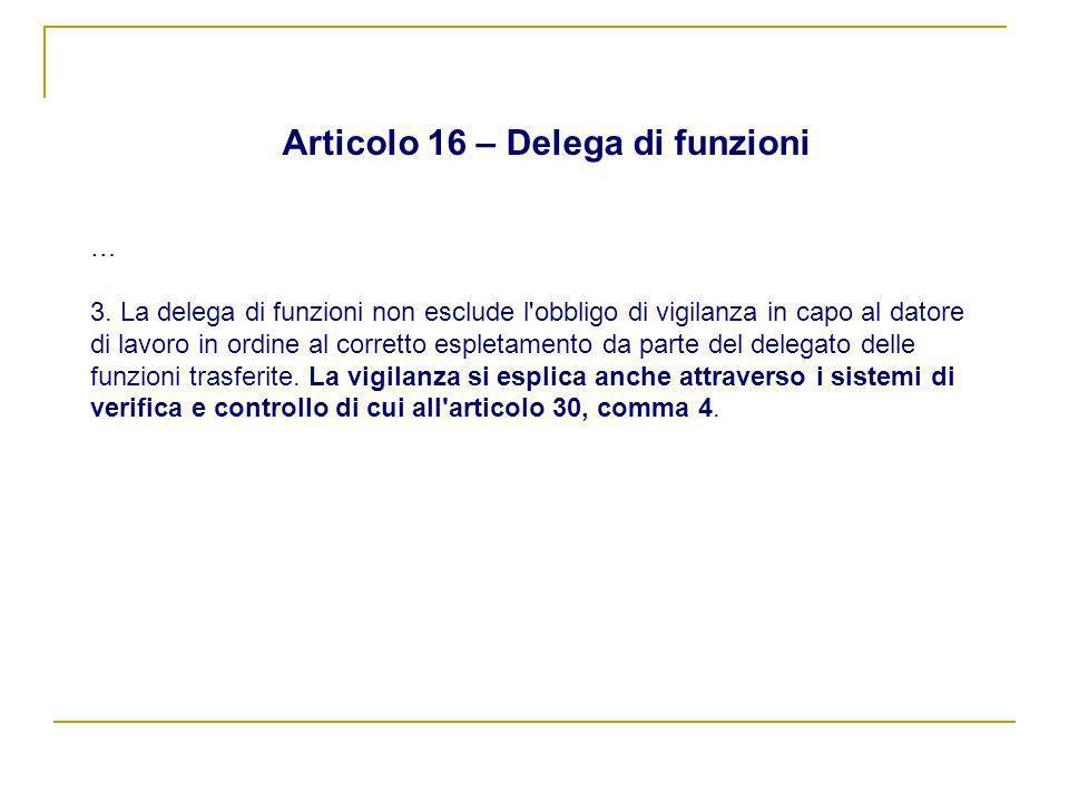 Articolo 16 – Delega di funzioni … 3. La delega di funzioni non esclude l'obbligo di vigilanza in capo al datore di lavoro in ordine al corretto esple