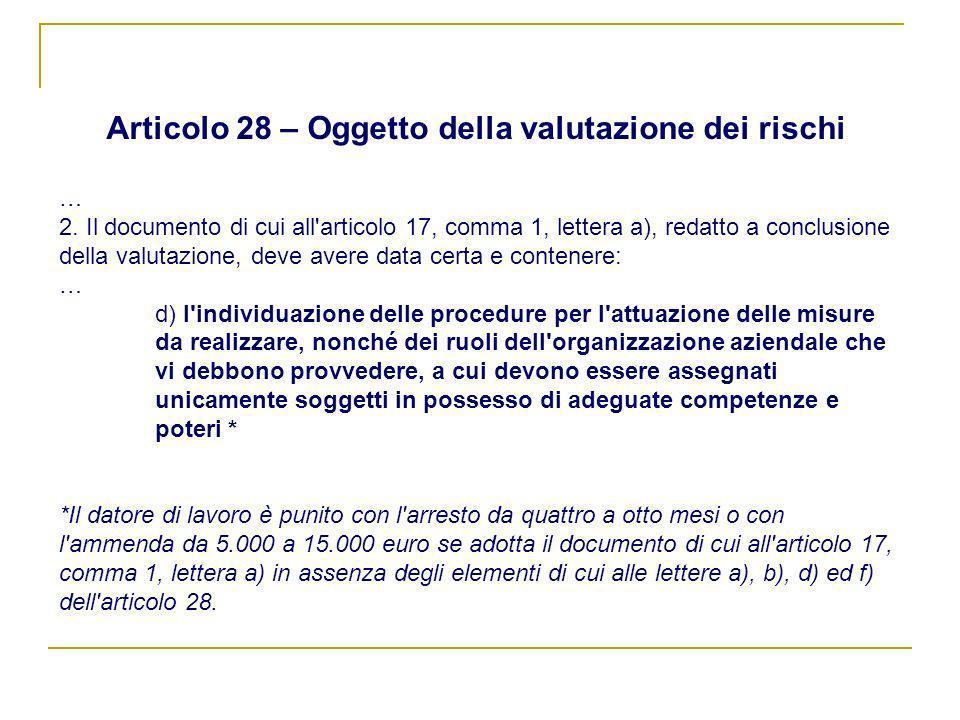 Articolo 28 – Oggetto della valutazione dei rischi … 2. Il documento di cui all'articolo 17, comma 1, lettera a), redatto a conclusione della valutazi