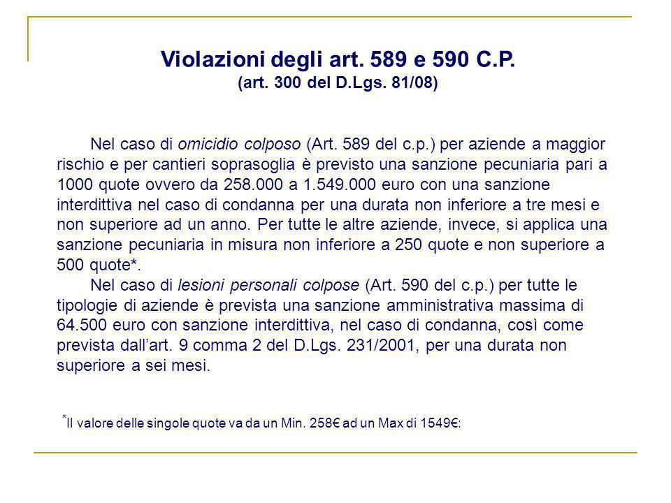 Nel caso di omicidio colposo (Art. 589 del c.p.) per aziende a maggior rischio e per cantieri soprasoglia è previsto una sanzione pecuniaria pari a 10