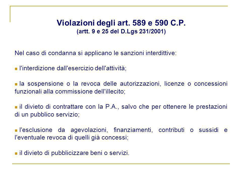 Violazioni degli art. 589 e 590 C.P. (artt. 9 e 25 del D.Lgs 231/2001) Nel caso di condanna si applicano le sanzioni interdittive: l'interdizione dall