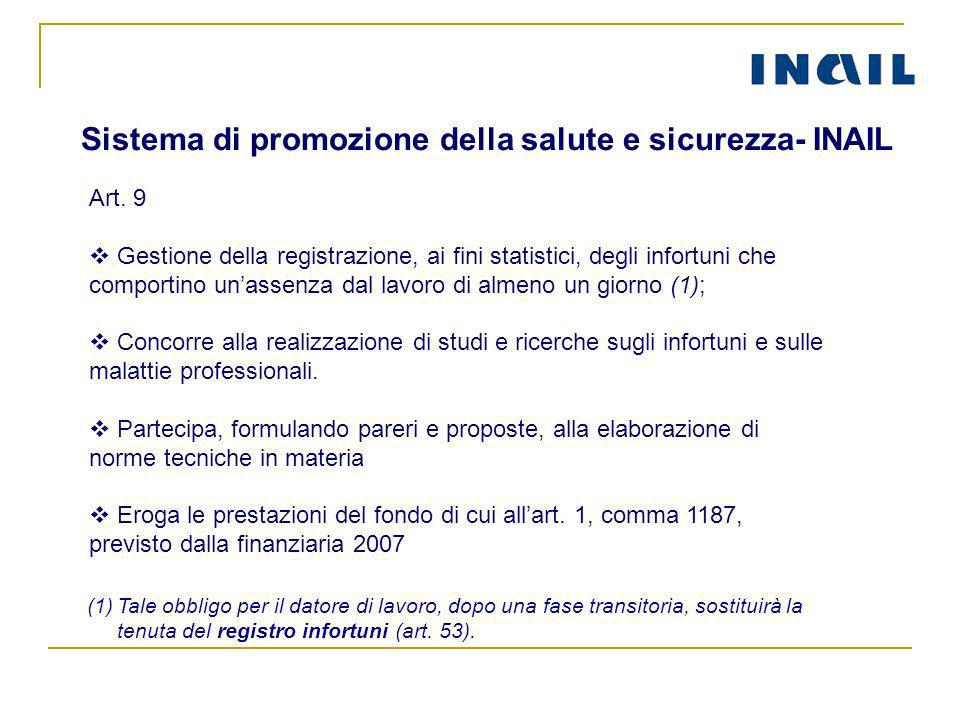 Sistema di promozione della salute e sicurezza- INAIL Art. 9 Gestione della registrazione, ai fini statistici, degli infortuni che comportino unassenz