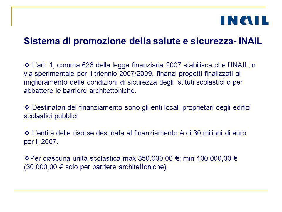 Lart. 1, comma 626 della legge finanziaria 2007 stabilisce che lINAIL,in via sperimentale per il triennio 2007/2009, finanzi progetti finalizzati al m