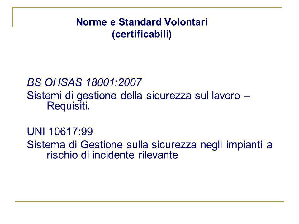 Norme e Standard Volontari (certificabili) BS OHSAS 18001:2007 Sistemi di gestione della sicurezza sul lavoro – Requisiti. UNI 10617:99 Sistema di Ges